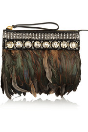 Marni Feather-trimmed embellished leather and felt clutch