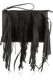 Marni Fringe two-tone leather clutch