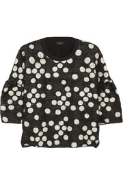 Giambattista Valli Polka-dot brushed-jacquard and jersey top