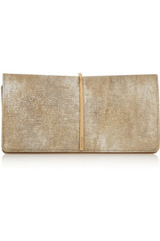 Nina Ricci Arc metallic textured-leather and suede clutch