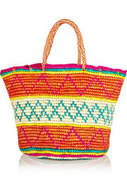 Maxi patterned toquilla straw tote