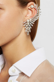 Ryan Storer Silver-plated, Swarovski crystal and pearl ear cuff