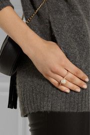 Ryan Storer Rose gold-plated Swarovski pearl two-finger ring