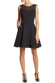 Grace MMXIII Silk organza-paneled stretch-cady mini dress