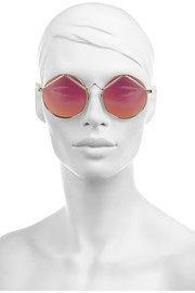 Le Specs Wild Child round-frame metal mirrored sunglasses