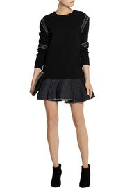 Jay Ahr Zip-detailed scuba-jersey and denim mini dress
