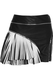 Jay Ahr Two-tone pleated leather mini skirt