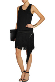 Jay Ahr Fringed suede and stretch-jersey mini dress