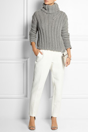 Jay Ahr Zip-detailed ribbed wool and alpaca-blend sweater
