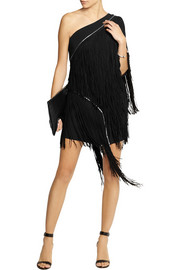 Jay Ahr Zip-detailed fringed suede and crepe mini dress