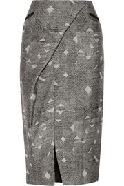 Wrap-effect wool and silk-blend jacquard skirt
