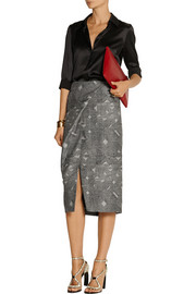 Maiyet Wrap-effect wool and silk-blend jacquard skirt