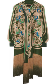 Anna Sui Fringed printed crepe de chine jacket