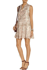 Anna Sui Deco embroidered tulle dress