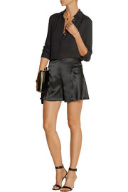 Anna Sui Silk-charmeuse wide-leg shorts