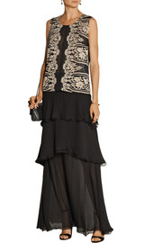 Anna Sui Lace and silk-chiffon top