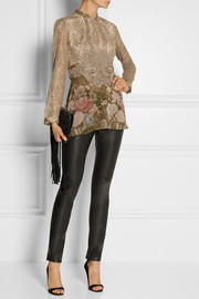 Anna Sui Embroidered printed tulle and lace blouse