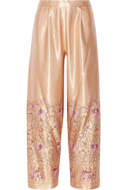 Embroidered satin wide-leg pants