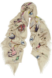 Mary Katrantzou Symbol printed modal and cashmere-blend scarf