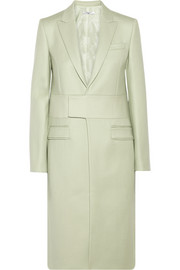 Melton wool-blend coat with neoprene detail