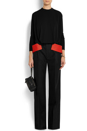 Givenchy Wide-leg pants in black wool with cotton-cady hip bands