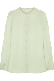 Silk-charmeuse blouse with back band