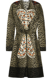 Leopard-print silk dress with butterfly appliqué