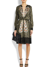 Givenchy Leopard-print silk dress with butterfly appliqué