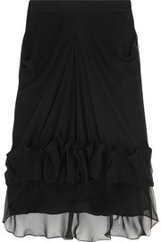 Givenchy Ruched and draped silk-chiffon skirt
