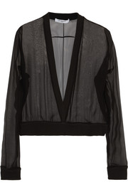Givenchy Silk-chiffon sweater with ribbed stretch-cotton trims