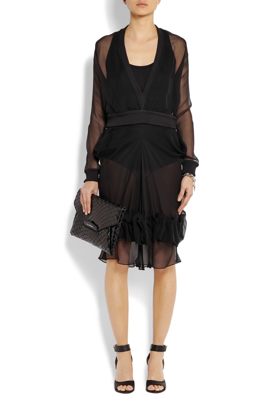 Givenchy Pullover aus Chiffon-Seide mit Besätzen aus geripptem Baumwoll-Stretch