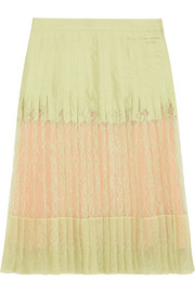 Pleated skirt in mint-green silk-twill and lace