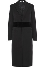 Wool coat with velvet band detail