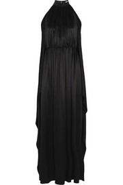 Scarf-back gown in black silk-satin