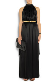 Givenchy Scarf-back gown in black silk-satin