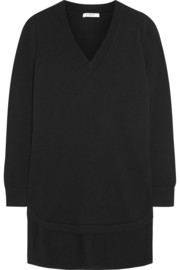 Sweater in black cashmere with neoprene detail