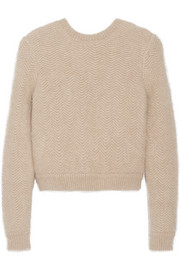 Beige angora-blend sweater with elasticated back band