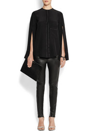 Open-sleeved blouse in black silk crepe de chine