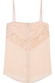 Camisole in blush silk-chiffon and lace