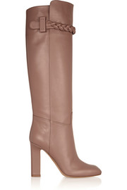 Valentino Braid-detailed leather knee boots