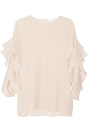 Chloé Ruffled silk-crepe top