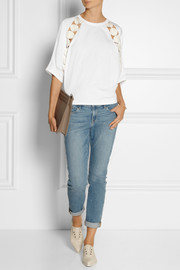 Chloé Guipure lace-trimmed cotton top