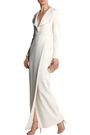 Wrap-effect wool-crepe gown