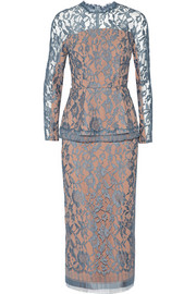 Emilia Wickstead Lace peplum midi dress