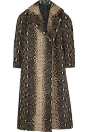 Emilia Wickstead Snake-print textured silk-sateen coat