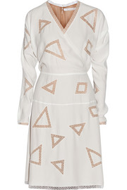 Chloé Mesh-paneled silk-crepe dress