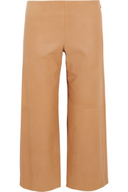 Chloé Cropped leather wide-leg pants