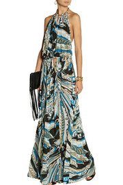 Emilio Pucci Backless printed crepe gown