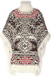 Emilio Pucci Fringed jacquard-knit turtleneck cape