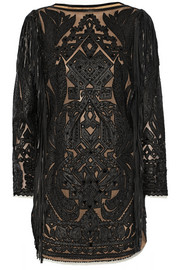 Emilio Pucci Embellished cutout leather mini dress